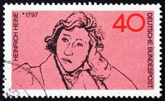 Postage stamp Germany 1972 Heinrich Heine, Poet - stock photo