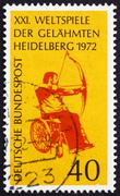 Postage stamp Germany 1972 Archer in Wheelchair - stock photo