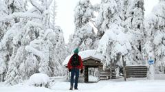 Male walker entering Riisitunturi NP snowy frozen spruce forest Finland Stock Footage