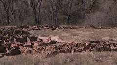Pan shot of Native American Dwellings Stock Footage