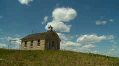 Kansas Flint Hills old stone Schoolhouse time lapse nw Stock Footage