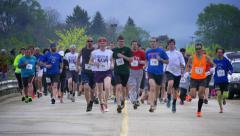 4K Marathon Runners Starting Line 4335 Stock Footage