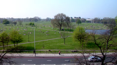 People sitting out on Clapham Common, very slowly leaving, HD, UP19255 Stock Footage