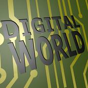 Pcb board with digital world Stock Illustration
