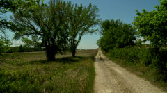 Kansas old back road with modern highway nearby Stock Footage