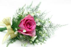 natural red rose corsage - stock photo