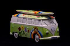 Happy hippie bus Stock Photos