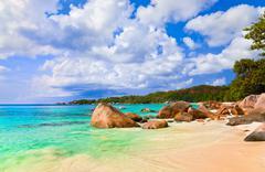 Beach Anse Lazio at island Praslin, Seychelles - stock photo