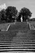 A steep staircase in the Boboli Gardens of Florence, Italy - stock photo