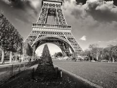 Architecture in Paris, Eiffel Tower and Champs de Mars Stock Photos