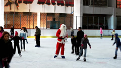 Santa Claus on Ice Skates Stock Footage