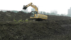Riverbank Construction Sichuan China 3 machine Stock Footage