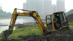 Riverbank Construction Sichuan China 6 machine Stock Footage