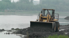 Riverbank Construction Sichuan China 8 machine Stock Footage
