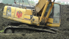 Riverbank Construction Sichuan China 9 machine Stock Footage