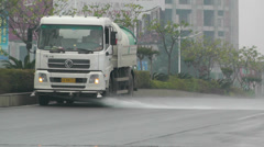 Road Cleaner Truck Sichuan China 1 handheld with sound Stock Footage