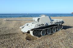gray tank model - stock photo