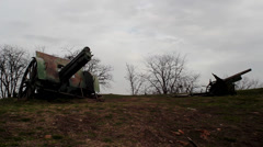 World War I howitzers Stock Footage