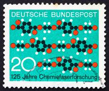 Postage stamp Germany 1971 Molecule Diagram Textile Pattern - stock photo