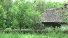 Ukrainian old house with fence Stock Footage