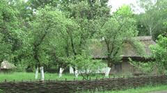 An old Ukrainian house in the garden Stock Footage