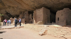 Mesa Verde Spruce Tree Indian Cliff Dwelling tourists 4K 073 Stock Footage