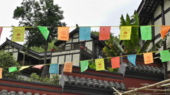 Wufeng Ancient Town Chengdu Area Sichuan China 12 flags Stock Footage