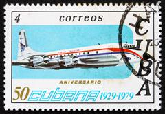 Postage stamp Cuba 1979 Brittania, Airplane - stock photo