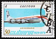 Stock Photo of Postage stamp Cuba 1979 Brittania, Airplane