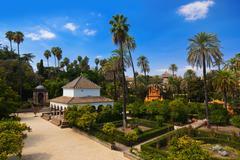 Real Alcazar Gardens in Seville Spain - stock photo