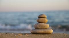 Zen stones on the beach - stock footage