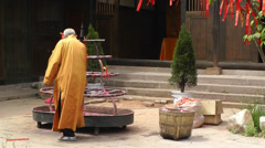 Wufeng Ancient Town Chengdu Area Sichuan China 15 monk Stock Footage