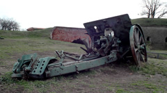 World War I howitzers, camera move Stock Footage