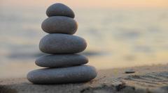 Zen stones at sunset Stock Footage