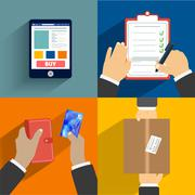 set of hands clients purchasing - stock illustration