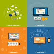 icons for web design, seo, social media - stock illustration