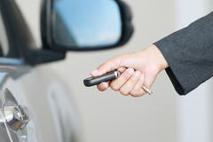 bussiness woman show a remote car key - stock photo