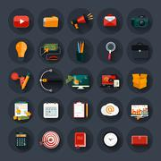 business, office and marketing items icons. - stock illustration