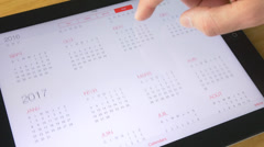 4K Calendar Tablet iPad Stock Footage