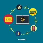 e-commerce infographic concept of purchasing - stock illustration
