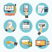Stock Illustration of business, office and marketing items icons.