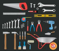 Modern hand tools. instruments collection Stock Illustration