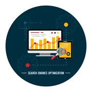 seo optimization, programming process - stock illustration