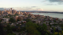 View on Seattle and bay of Puget Sound Stock Footage