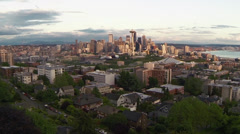 Seattle aerial view skyscraper Stock Footage