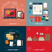 Business tools, interior, online, documents Stock Illustration