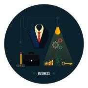 Business concept. tools, interier, online, documents Stock Illustration