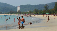 PHUKET, THAILAND - 3 MARCH 2014: Patong Beach Stock Footage