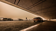 The traffic on beijing international airport gate Stock Footage