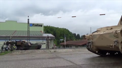 Moving Tanks in Germany M1A2 Abrams and Bradley Stock Footage